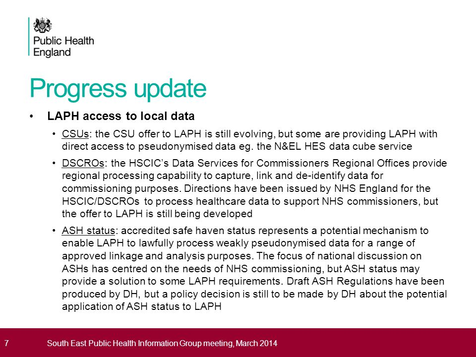 Progress update Establishing a legal basis for LAPH to process PCD Information governance and legal advice is supportive of a reinterpretation of Regulation 3 of The Health Service (Control of Patient Information) Regulations 2002 – this allows PCD to be processed with a view to diagnosing communicable diseases and other risks to public health (italics added) But the use of Regulation 3 is not without problems: its use since inception has been restricted to health protection purposes reinterpreted secondary legislation is a poor 'sticking plaster' for organisational delivery issues it is 'permissive' ie.