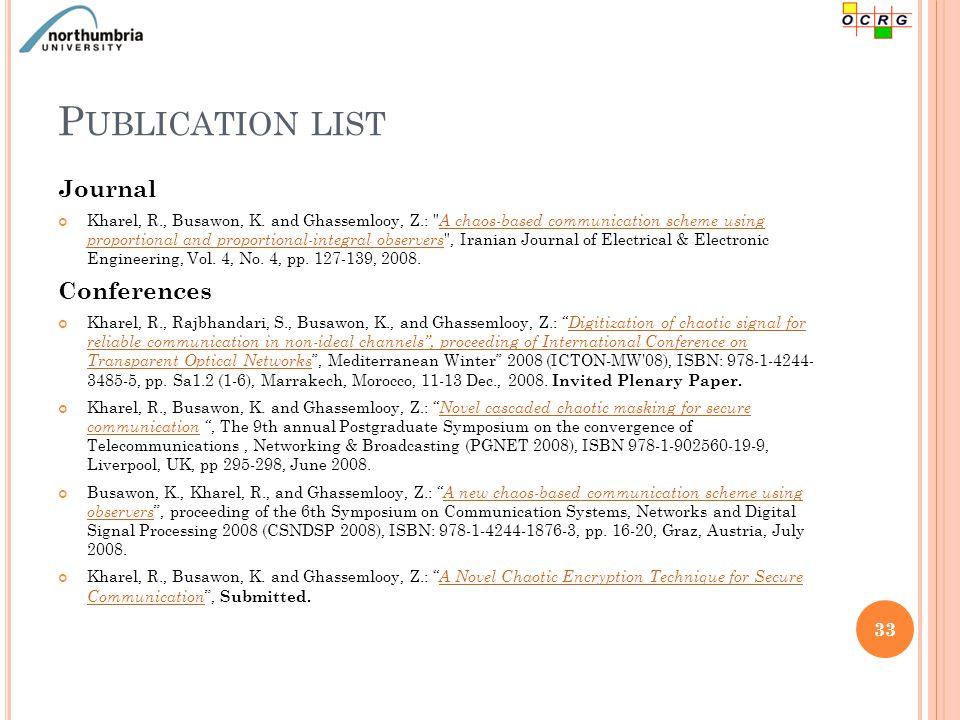 P UBLICATION LIST Journal Kharel, R., Busawon, K.