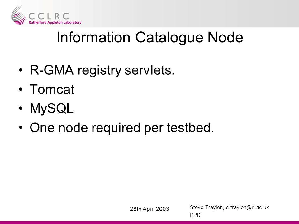 Steve Traylen, s.traylen@rl.ac.uk PPD 28th April 2003 Information Catalogue Node R-GMA registry servlets.