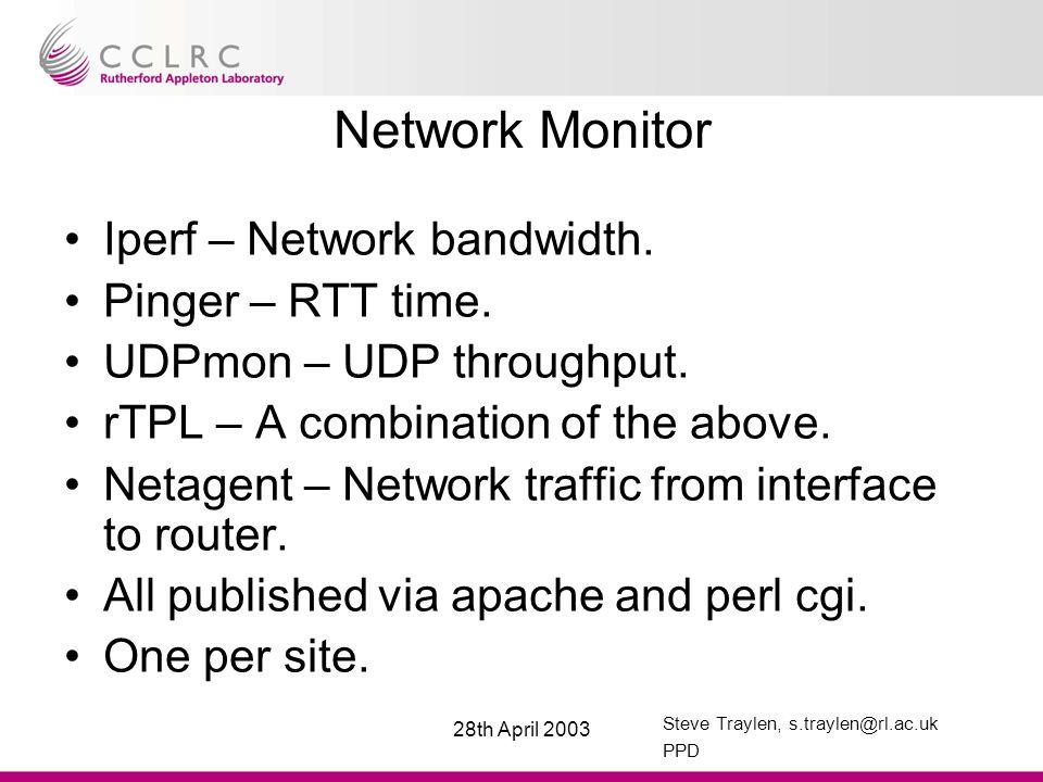 Steve Traylen, s.traylen@rl.ac.uk PPD 28th April 2003 Network Monitor Iperf – Network bandwidth.