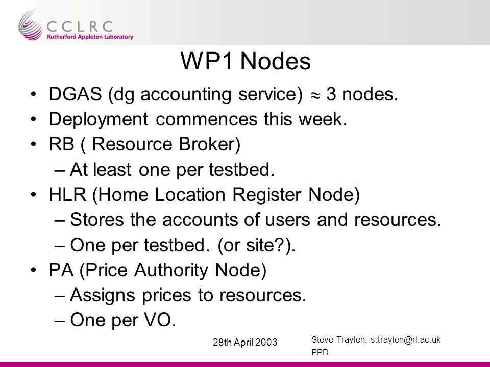 Steve Traylen, s.traylen@rl.ac.uk PPD 28th April 2003 WP1 Nodes DGAS (dg accounting service)  3 nodes.