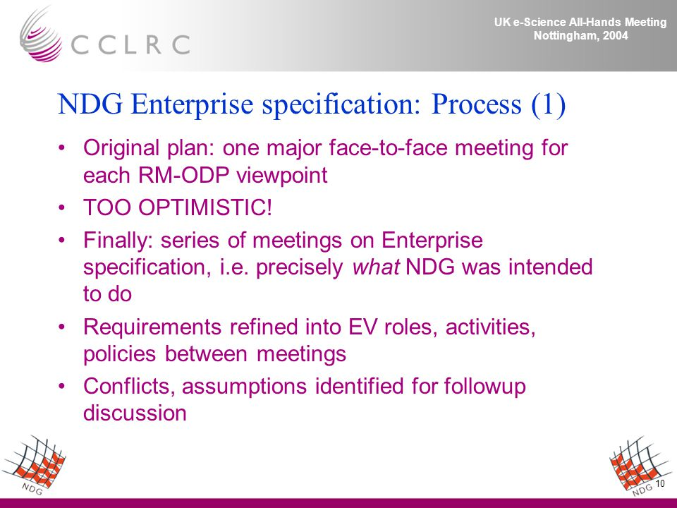 10 UK e-Science All-Hands Meeting Nottingham, 2004 NDG Enterprise specification: Process (1) Original plan: one major face-to-face meeting for each RM