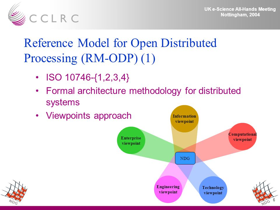 6 UK e-Science All-Hands Meeting Nottingham, 2004 Reference Model for Open Distributed Processing (RM-ODP) (1) ISO 10746-{1,2,3,4} Formal architecture methodology for distributed systems Viewpoints approach Enterprise viewpoint NDG Information viewpoint Computational viewpoint Technology viewpoint Engineering viewpoint