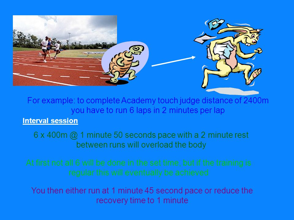For example: to complete Academy touch judge distance of 2400m you have to run 6 laps in 2 minutes per lap Interval session 6 x 1 minute 50 seconds pace with a 2 minute rest between runs will overload the body At first not all 6 will be done in the set time, but if the training is regular this will eventually be achieved You then either run at 1 minute 45 second pace or reduce the recovery time to 1 minute