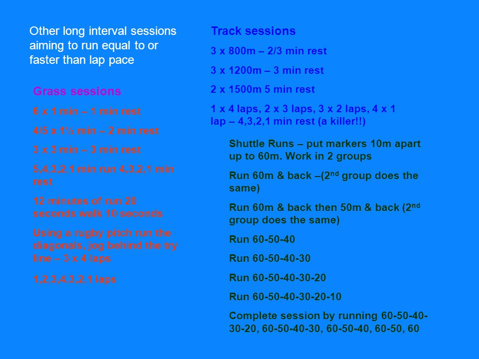 Other long interval sessions aiming to run equal to or faster than lap pace Track sessions 3 x 800m – 2/3 min rest 3 x 1200m – 3 min rest 2 x 1500m 5 min rest 1 x 4 laps, 2 x 3 laps, 3 x 2 laps, 4 x 1 lap – 4,3,2,1 min rest (a killer!!) Grass sessions 6 x 1 min – 1 min rest 4/5 x 1½ min – 2 min rest 3 x 3 min – 3 min rest 5,4,3,2,1 min run 4,3,2,1 min rest 12 minutes of run 20 seconds walk 10 seconds Using a rugby pitch run the diagonals, jog behind the try line – 3 x 4 laps 1,2,3,4,3,2,1 laps Shuttle Runs – put markers 10m apart up to 60m.