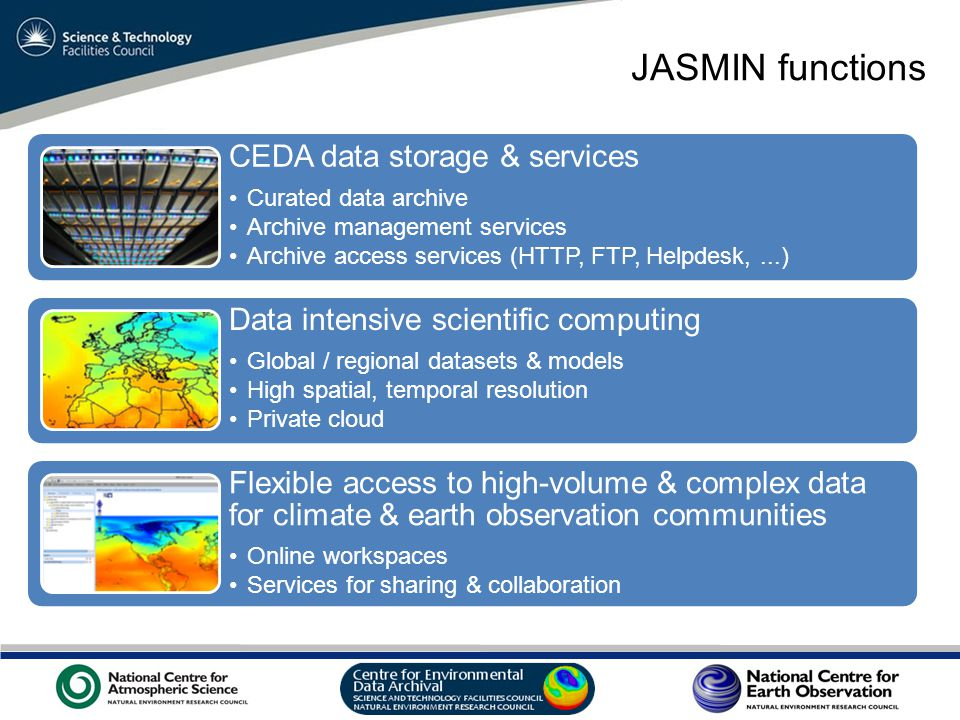 VO Sandpit, November 2009 JASMIN functions CEDA data storage & services Curated data archive Archive management services Archive access services (HTTP, FTP, Helpdesk,...) Data intensive scientific computing Global / regional datasets & models High spatial, temporal resolution Private cloud Flexible access to high-volume & complex data for climate & earth observation communities Online workspaces Services for sharing & collaboration