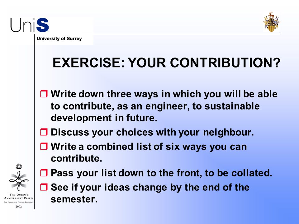 EXERCISE: YOUR CONTRIBUTION.