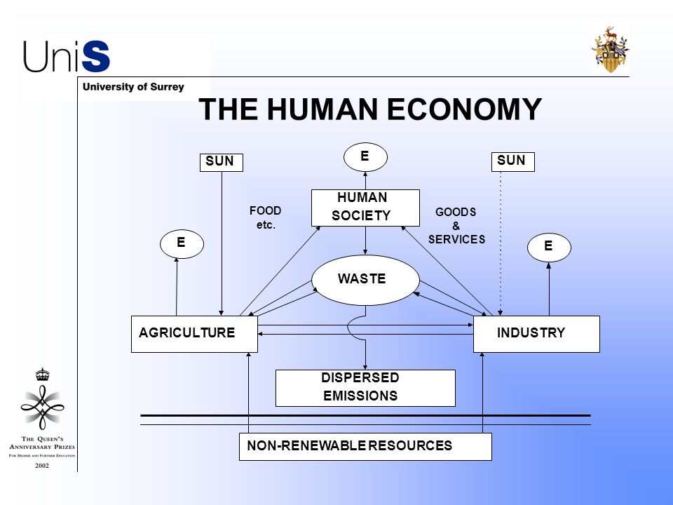 THE HUMAN ECONOMY E E E SUN WASTE HUMAN SOCIETY AGRICULTUREINDUSTRY DISPERSED EMISSIONS NON-RENEWABLE RESOURCES FOOD etc.