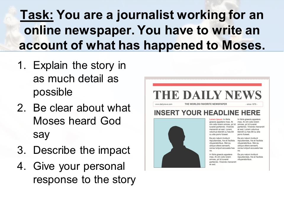 Task: You are a journalist working for an online newspaper.