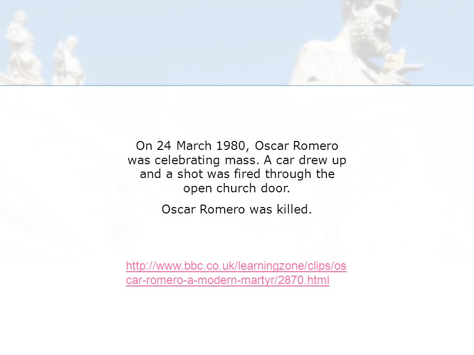 On 24 March 1980, Oscar Romero was celebrating mass.
