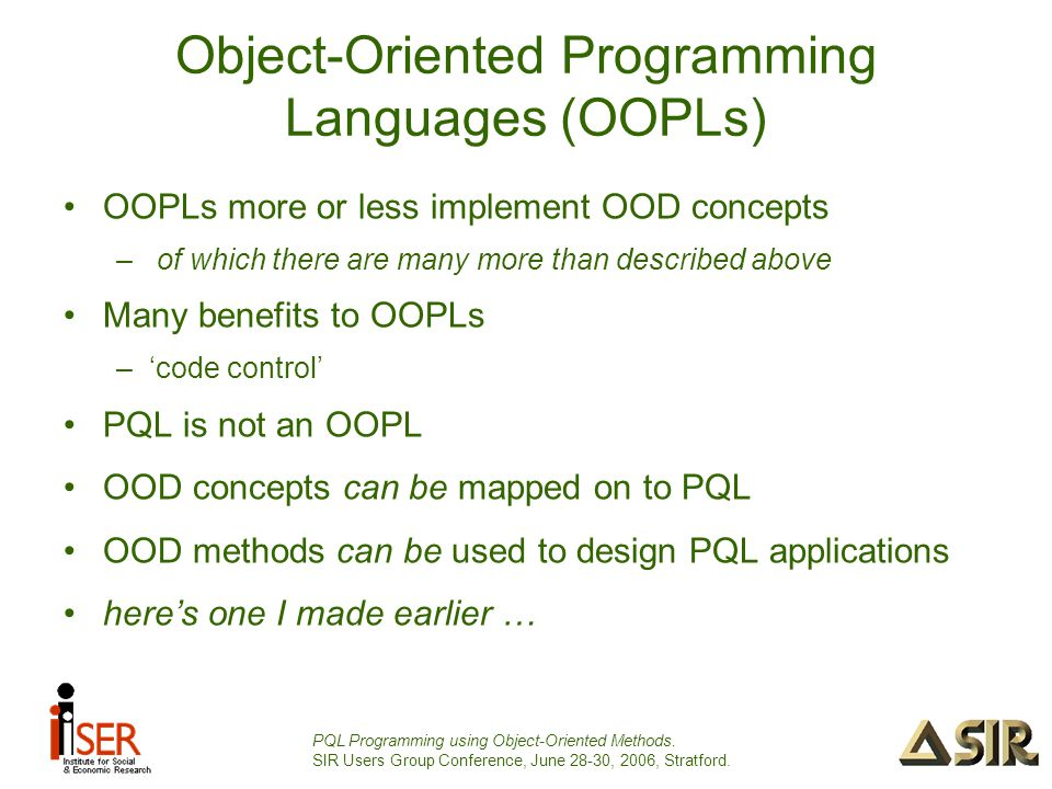 PQL Programming using Object-Oriented Methods.