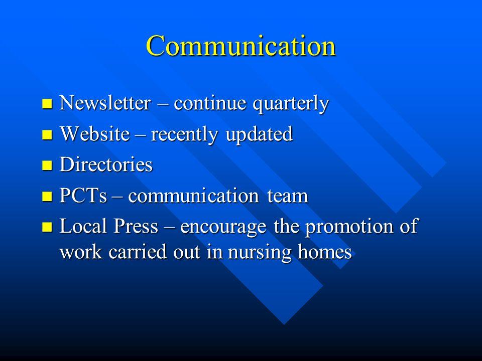 Communication Newsletter – continue quarterly Newsletter – continue quarterly Website – recently updated Website – recently updated Directories Direct