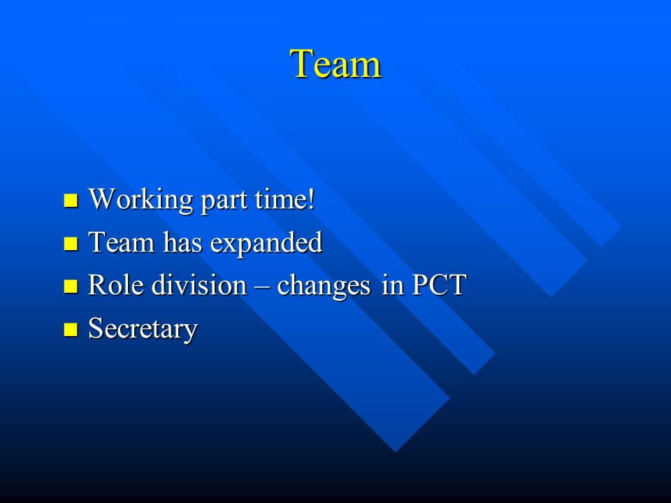 Team Working part time! Working part time! Team has expanded Team has expanded Role division – changes in PCT Role division – changes in PCT Secretary