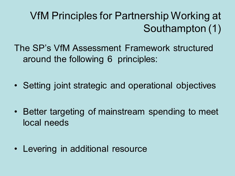 VfM Principles for Partnership Working at Southampton (1) The SP's VfM Assessment Framework structured around the following 6 principles: Setting joint strategic and operational objectives Better targeting of mainstream spending to meet local needs Levering in additional resource