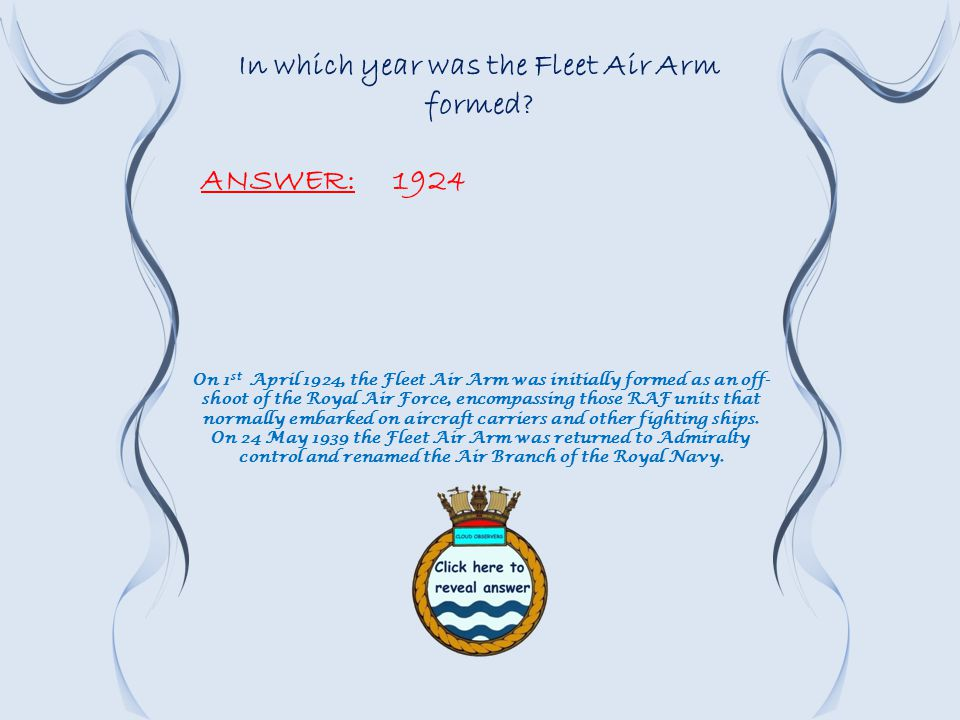 In which year was the Fleet Air Arm formed.