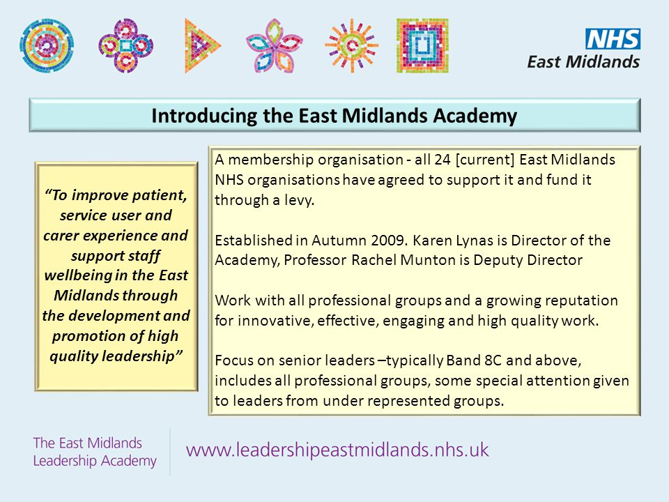 Introducing the East Midlands Academy A membership organisation - all 24 [current] East Midlands NHS organisations have agreed to support it and fund it through a levy.