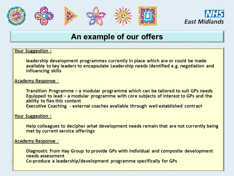 An example of our offers Your Suggestion : leadership development programmes currently in place which are or could be made available to key leaders to encapsulate Leadership needs identified e.g.