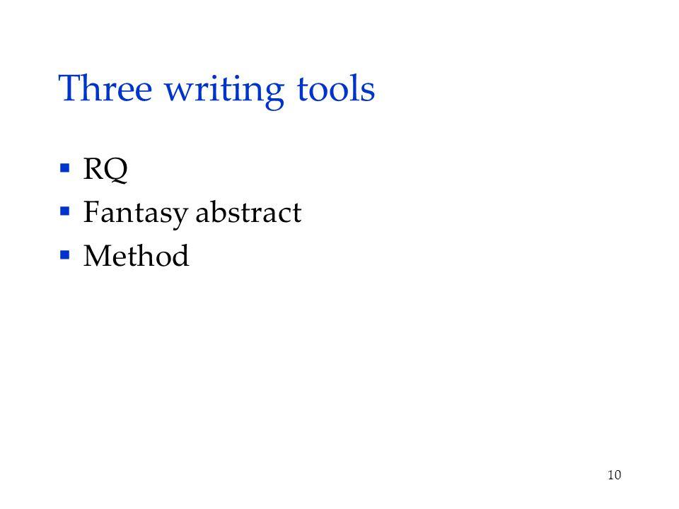 Three writing tools  RQ  Fantasy abstract  Method 10