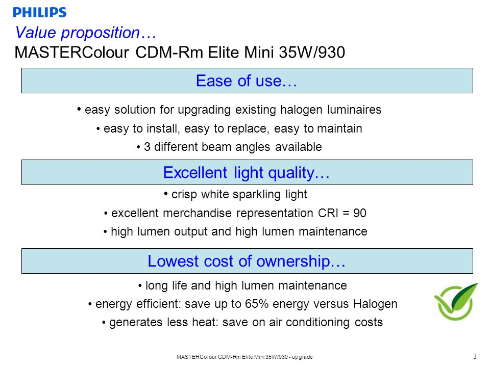 MASTERColour CDM-Rm Elite Mini 35W/930 - upgrade 4 Ideal for use in Retail - Display lighting - Spot and track lighting - Down lighting …but also Mini flood lighting (Indoor/Outdoor) Lighting differentiation - Miniaturization with CDM white sparkling light - Highest performance in a 50mm reflector lamp - Save up to 65% energy compared to Halogen - More light output than any 50mm LED lamp available Key Applications… MASTERColour CDM-Rm Elite Mini 35W/930