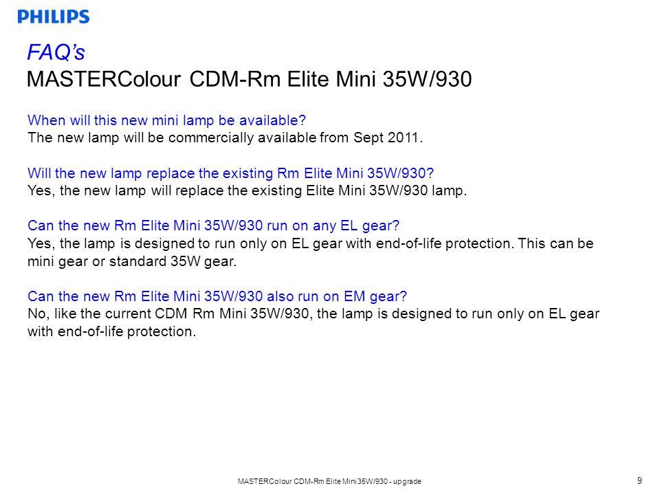 MASTERColour CDM-Rm Elite Mini 35W/930 - upgrade 9 When will this new mini lamp be available.