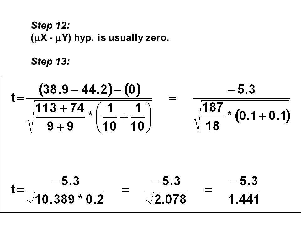 Step 12: (  X -  Y) hyp. is usually zero. Step 13:
