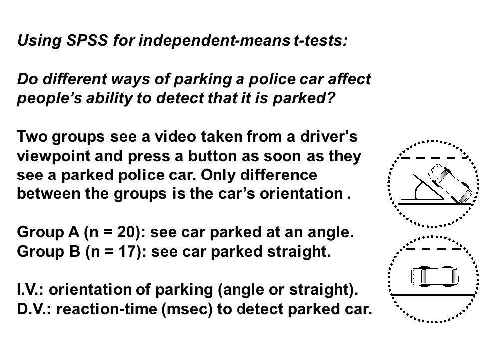 Using SPSS for independent-means t-tests: Do different ways of parking a police car affect people's ability to detect that it is parked.