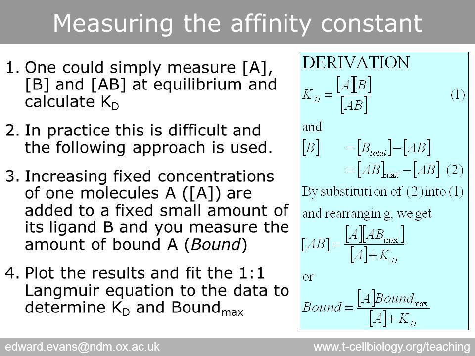 edward.evans@ndm.ox.ac.ukwww.t-cellbiology.org/teaching Measuring the affinity constant 1.One could simply measure [A], [B] and [AB] at equilibrium and calculate K D 2.In practice this is difficult and the following approach is used.