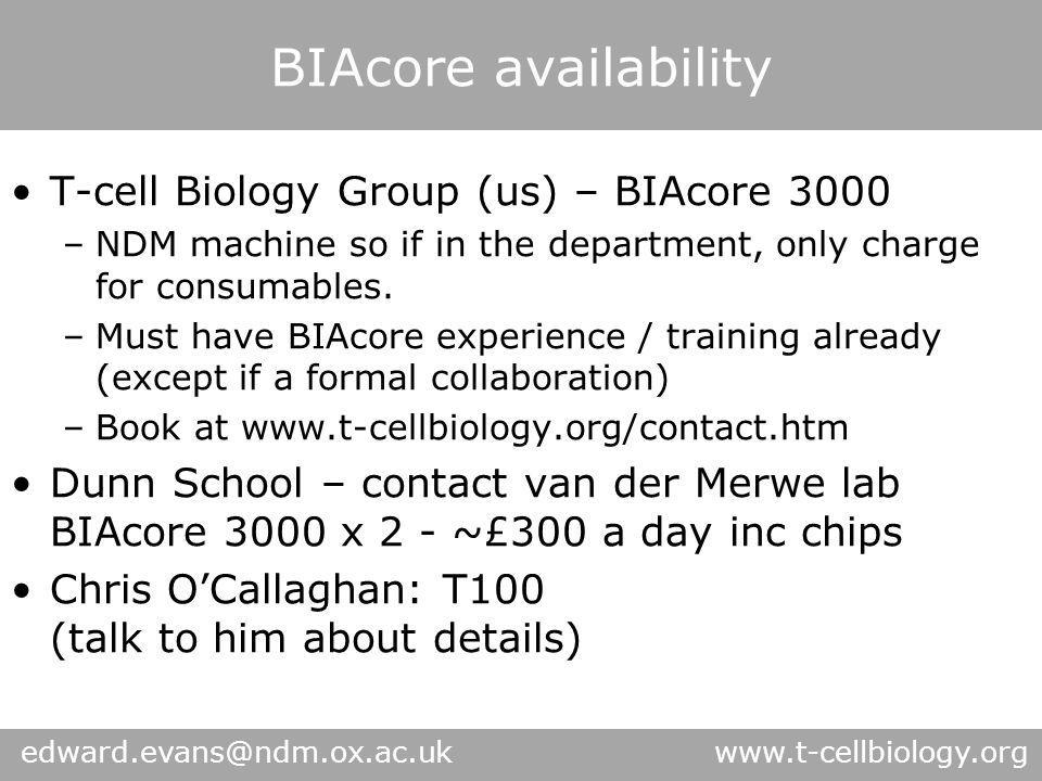BIAcore availability edward.evans@ndm.ox.ac.uk www.t-cellbiology.org T-cell Biology Group (us) – BIAcore 3000 –NDM machine so if in the department, on