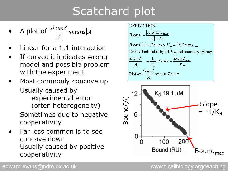 edward.evans@ndm.ox.ac.ukwww.t-cellbiology.org/teaching Scatchard plot A plot of Linear for a 1:1 interaction If curved it indicates wrong model and possible problem with the experiment Most commonly concave up Usually caused by experimental error (often heterogeneity) Sometimes due to negative cooperativity Far less common is to see concave down Usually caused by positive cooperativity Bound/[A] Bound max Slope = -1/K d
