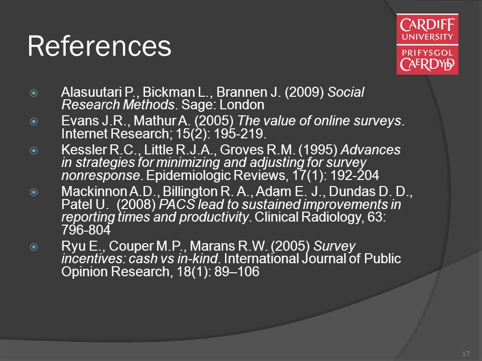 17 References  Alasuutari P., Bickman L., Brannen J.