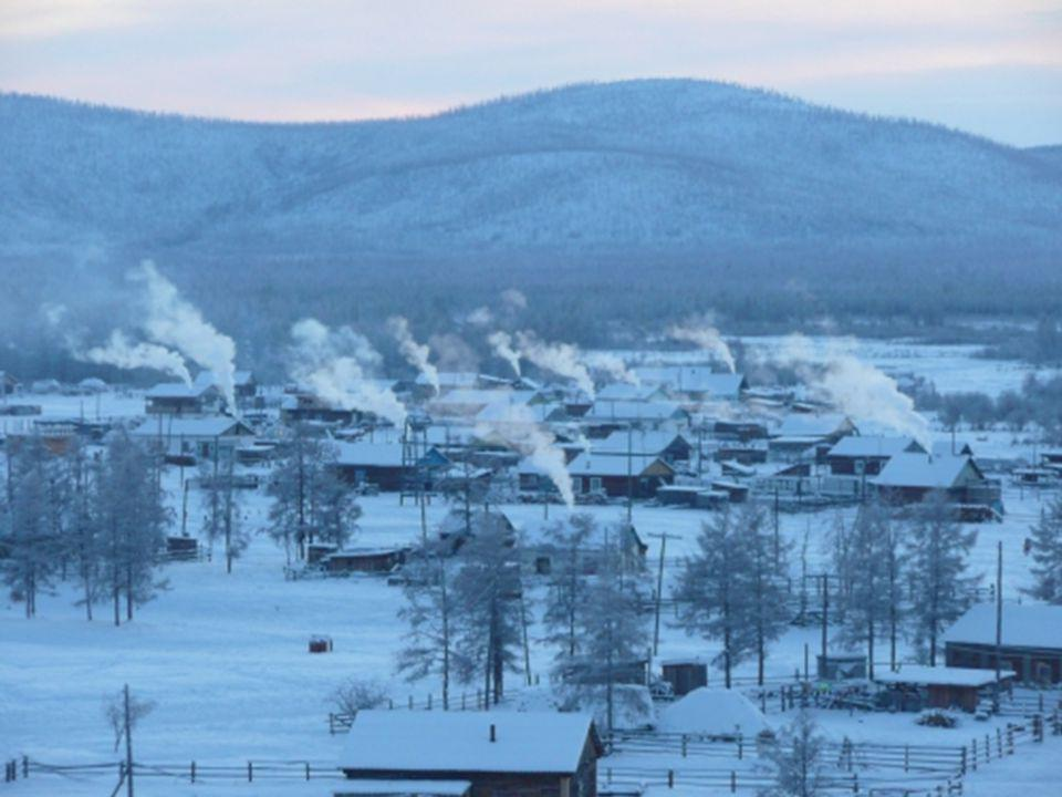 The town is located in the Russian republic of Yakutia in Siberia, on a plateau 750 meters above sea level.