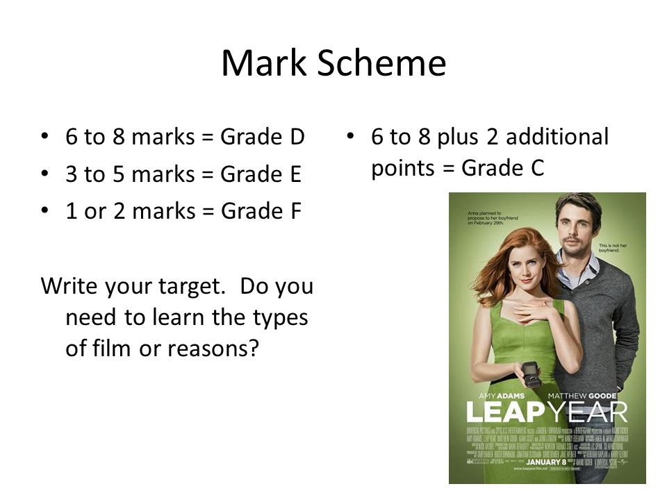 Mark Scheme 6 to 8 marks = Grade D 3 to 5 marks = Grade E 1 or 2 marks = Grade F Write your target.