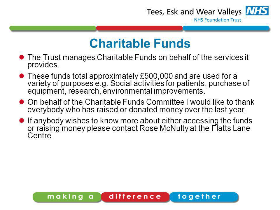 Charitable Funds The Trust manages Charitable Funds on behalf of the services it provides.