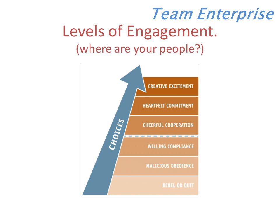 Levels of Engagement. (where are your people ) Team Enterprise
