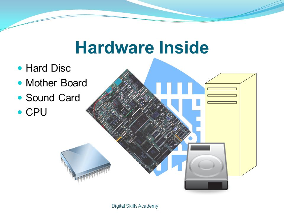 Hardware Inside Hard Disc Mother Board Sound Card CPU Digital Skills Academy