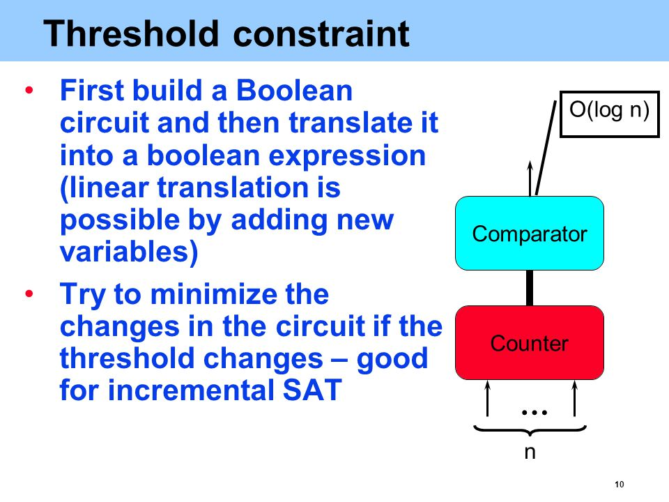 10 Threshold constraint First build a Boolean circuit and then translate it into a boolean expression (linear translation is possible by adding new variables) Try to minimize the changes in the circuit if the threshold changes – good for incremental SAT … n O(log n)