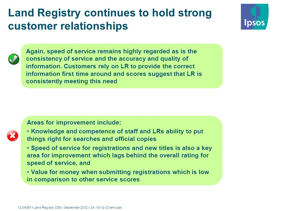 12-040611 Land Registry CSS – September 2012 – 24-10-12 (Client use) 7 Headline Findings Customers continue to perceive Land Registry as performing well, although the KPIs have dipped slightly this wave but the yearly trend shows steady improvement.
