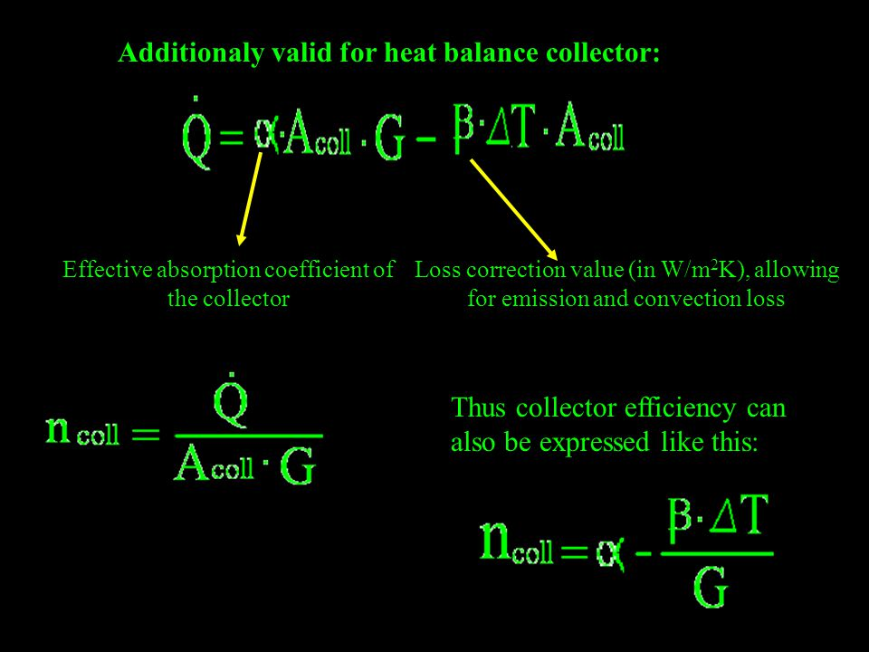 Additionaly valid for heat balance collector: Effective absorption coefficient of the collector Loss correction value (in W/m 2 K), allowing for emiss