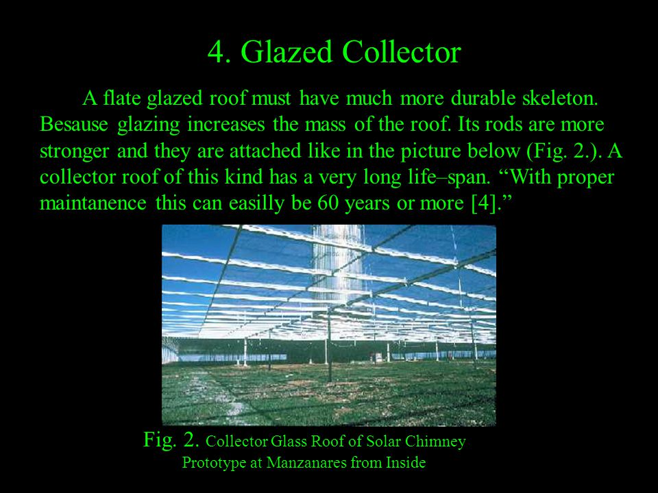 4. Glazed Collector A flate glazed roof must have much more durable skeleton. Besause glazing increases the mass of the roof. Its rods are more strong