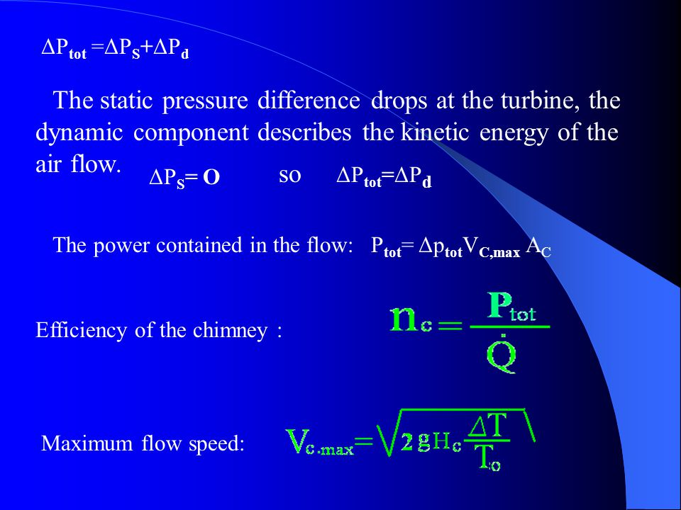 ΔP tot =ΔP S +ΔP d The static pressure difference drops at the turbine, the dynamic component describes the kinetic energy of the air flow. so ΔP S =