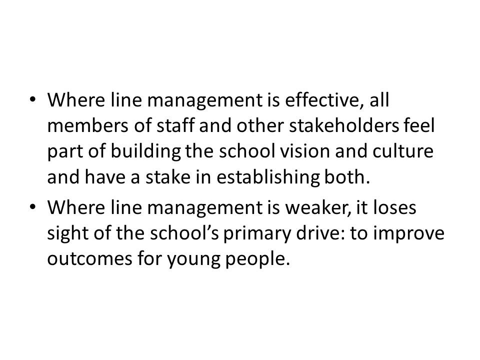Where line management is effective, all members of staff and other stakeholders feel part of building the school vision and culture and have a stake i