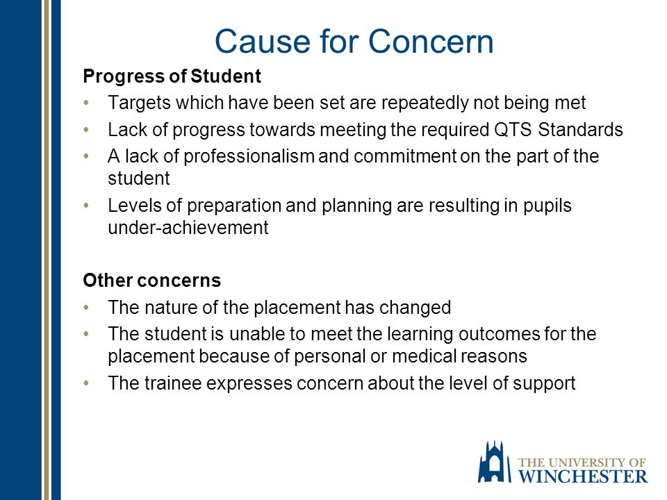 Cause for Concern Progress of Student Targets which have been set are repeatedly not being met Lack of progress towards meeting the required QTS Stand