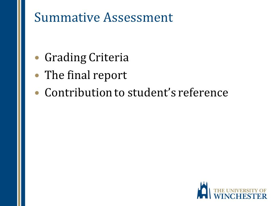 Summative Assessment Grading Criteria The final report Contribution to student's reference