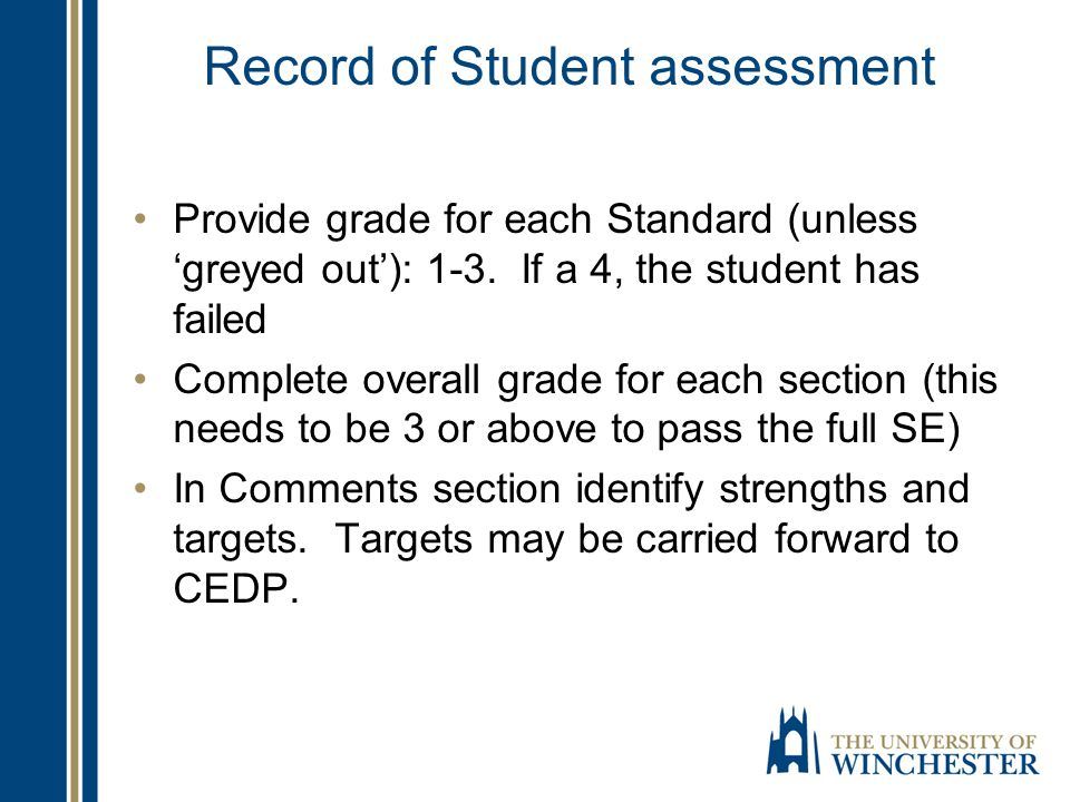 Record of Student assessment Provide grade for each Standard (unless 'greyed out'): 1-3. If a 4, the student has failed Complete overall grade for eac