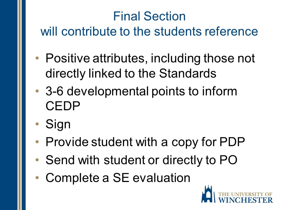 Final Section will contribute to the students reference Positive attributes, including those not directly linked to the Standards 3-6 developmental po