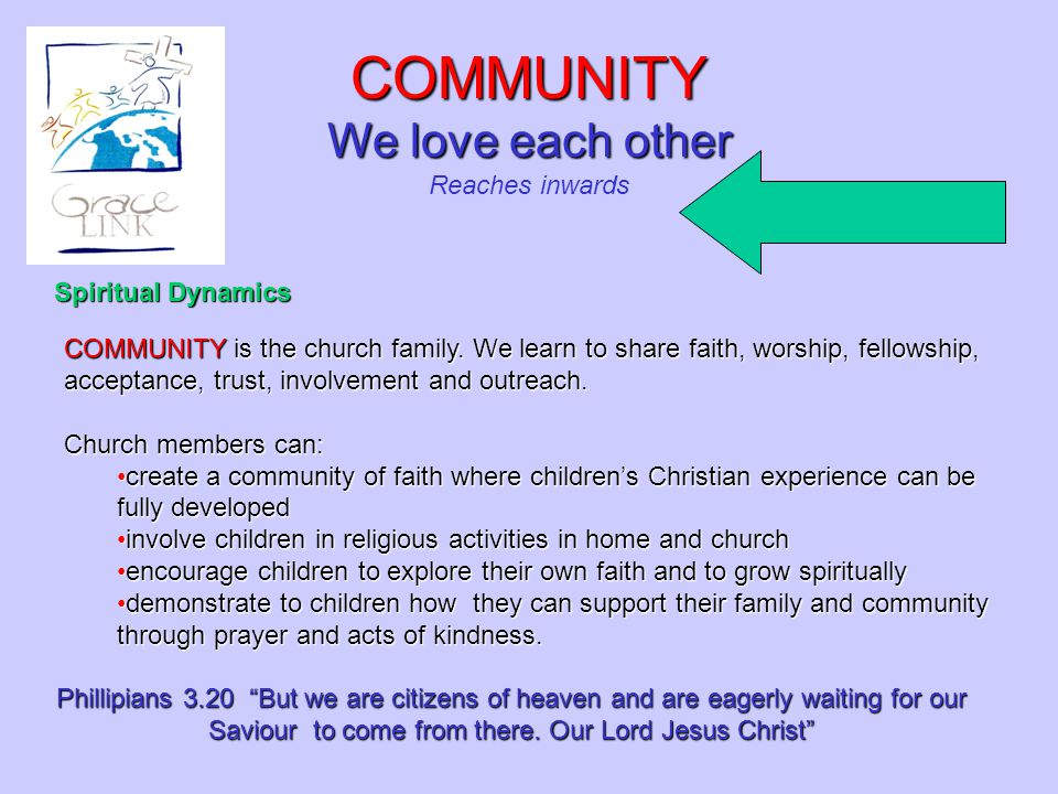 COMMUNITY is the church family. We learn to share faith, worship, fellowship, acceptance, trust, involvement and outreach. Church members can: create