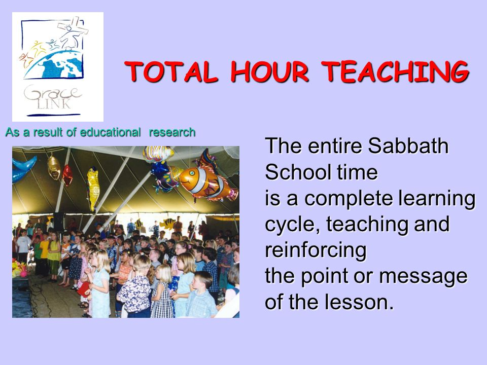 TOTAL HOUR TEACHING As a result of educational research The entire Sabbath School time is a complete learning cycle, teaching and reinforcing the poin