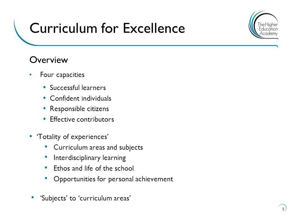 Overview Four capacities Successful learners Confident individuals Responsible citizens Effective contributors 'Totality of experiences' Curriculum areas and subjects Interdisciplinary learning Ethos and life of the school Opportunities for personal achievement 'Subjects' to 'curriculum areas' 5 Curriculum for Excellence