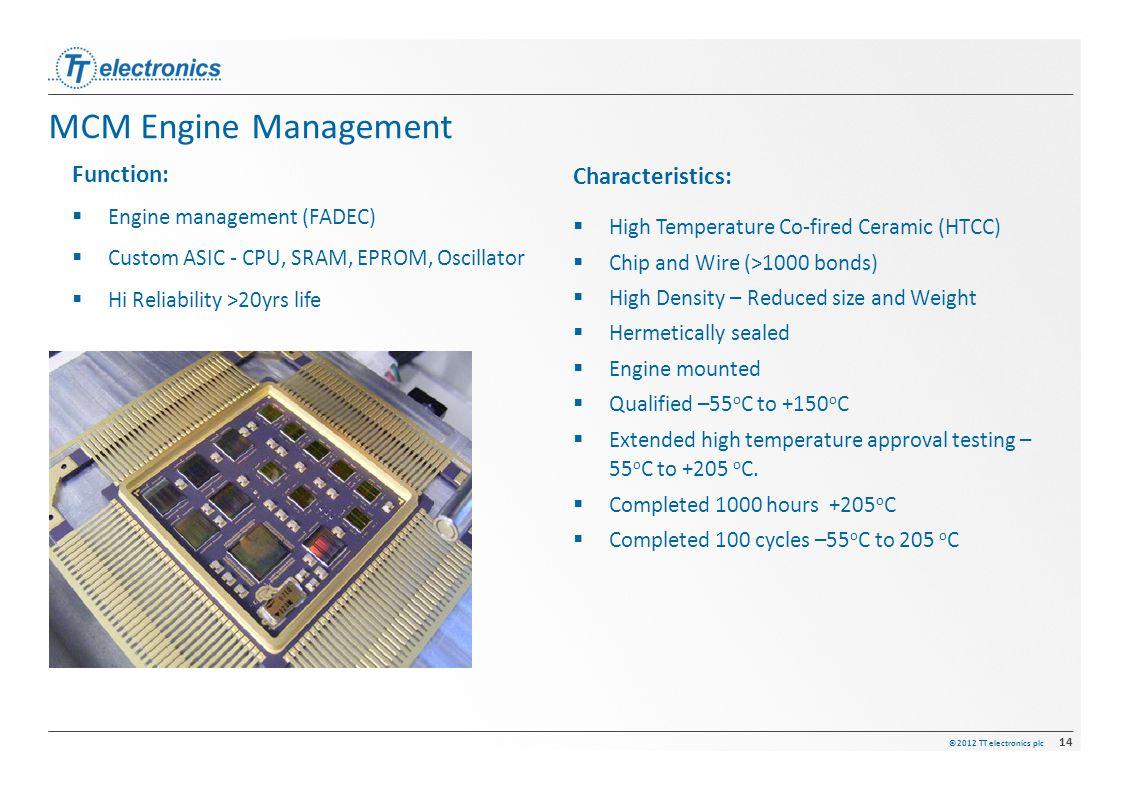 ©2012 TT electronics plc 14 MCM Engine Management Characteristics:  High Temperature Co-fired Ceramic (HTCC)  Chip and Wire (>1000 bonds)  High Den