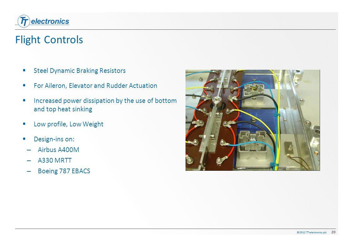 ©2012 TT electronics plc 20 Flight Controls  Steel Dynamic Braking Resistors  For Aileron, Elevator and Rudder Actuation  Increased power dissipati
